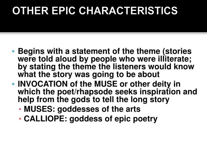 OTHER EPIC CHARACTERISTICS