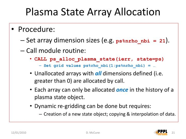 Plasma State Array Allocation