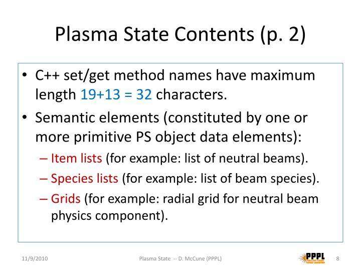 Plasma State Contents (p. 2)