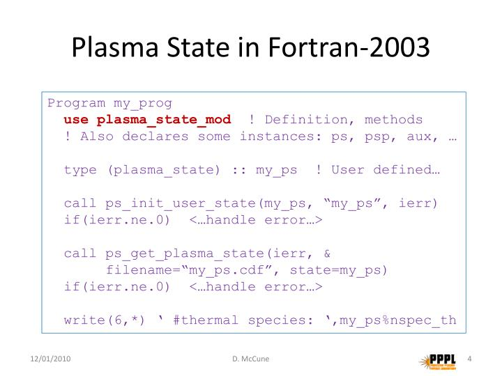 Plasma State in Fortran-2003