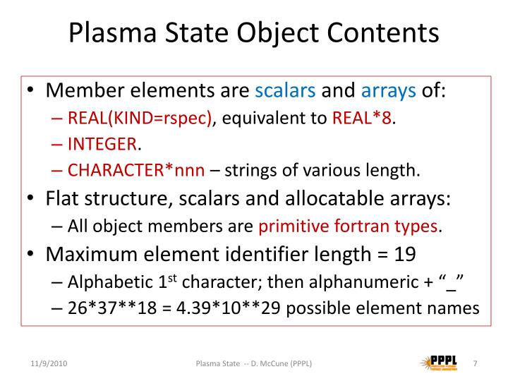 Plasma State Object Contents