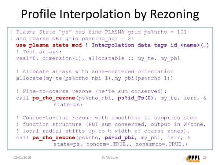 Profile Interpolation by Rezoning