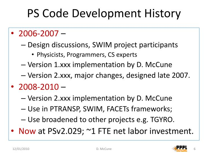 PS Code Development History