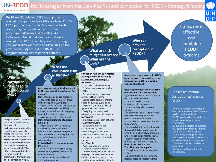 Key Messages from the Asia-Pacific Anti-corruption for REDD+ Strategy Meeting