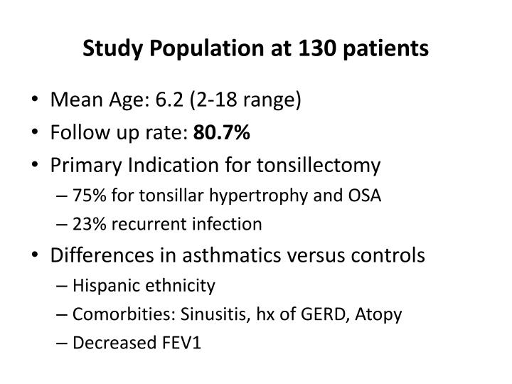 Study Population at 130 patients