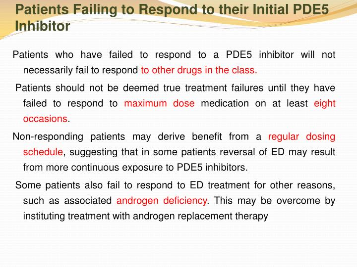 Patients Failing to Respond to their Initial PDE5 Inhibitor