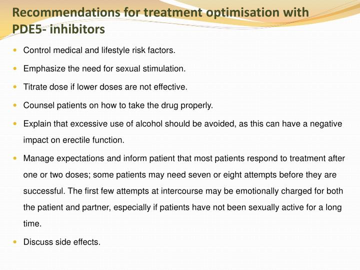 Recommendations for treatment