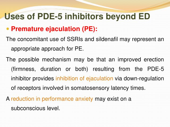 Uses of PDE-5 inhibitors beyond ED