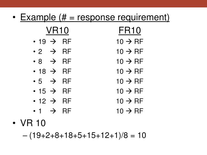 Example (# = response requirement)
