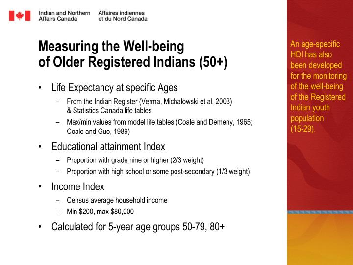 An age-specific HDI has also been developed for the monitoring of the well-being of the Registered Indian youth population