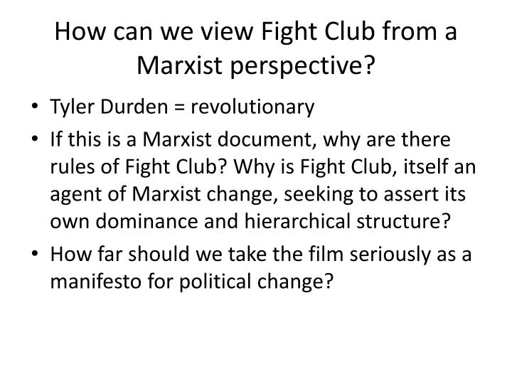 How can we view Fight Club from a Marxist perspective?