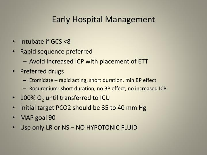Early Hospital Management