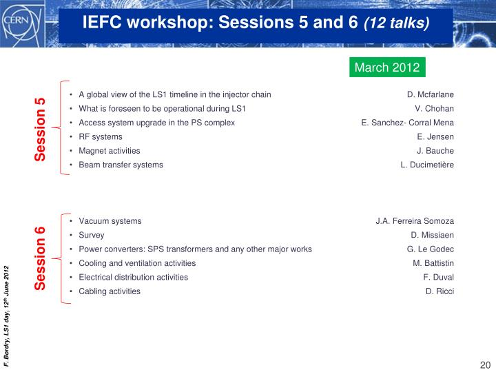 IEFC workshop: Sessions 5 and 6