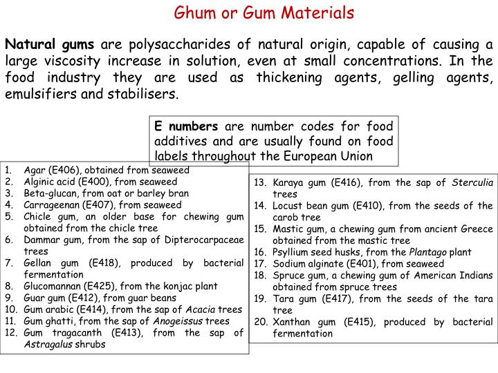 Ghum or Gum Materials