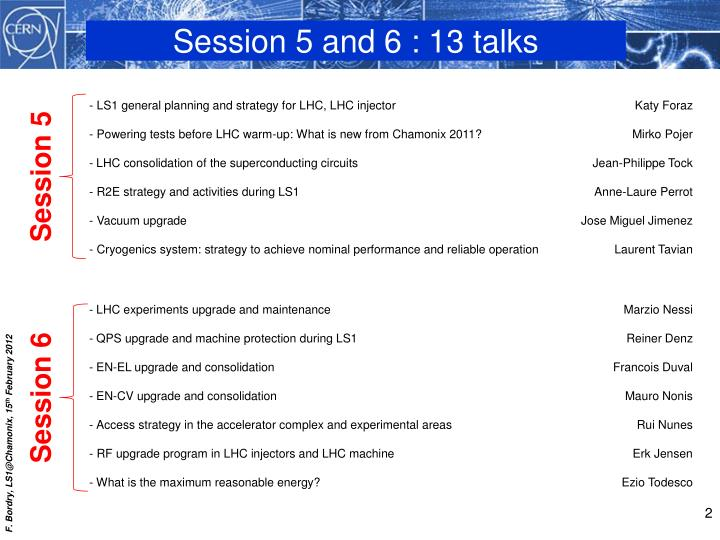 Session 5 and 6 : 13 talks