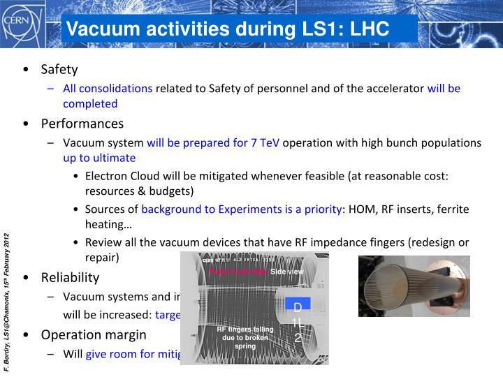 Vacuum activities during LS1: LHC