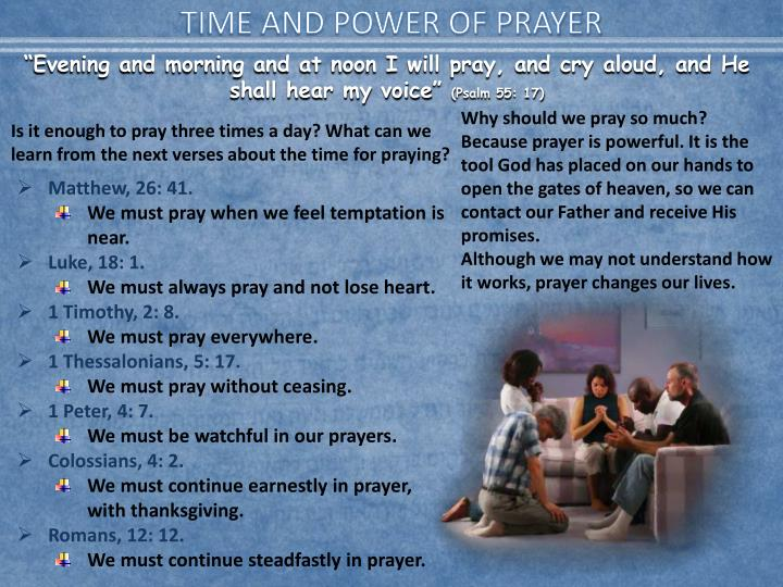 TIME AND POWER OF PRAYER