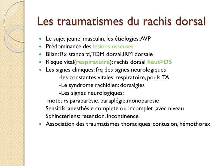 Les traumatismes du rachis dorsal