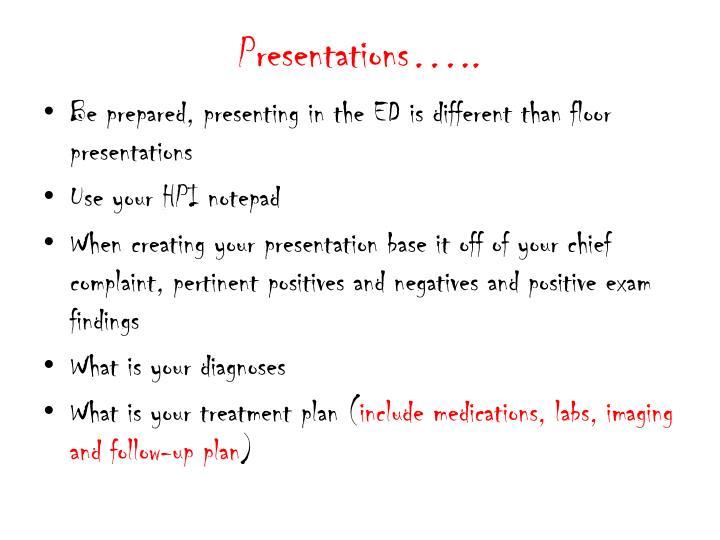 Presentations…..