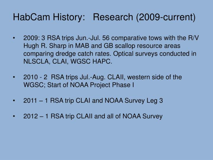 HabCam History:   Research (2009-current)