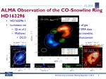 alma observation of the co snowline ring hd163296