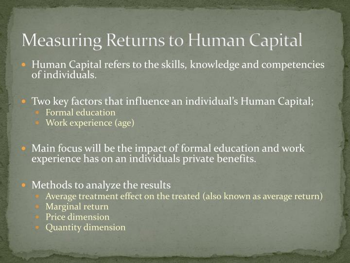 Measuring Returns to Human Capital