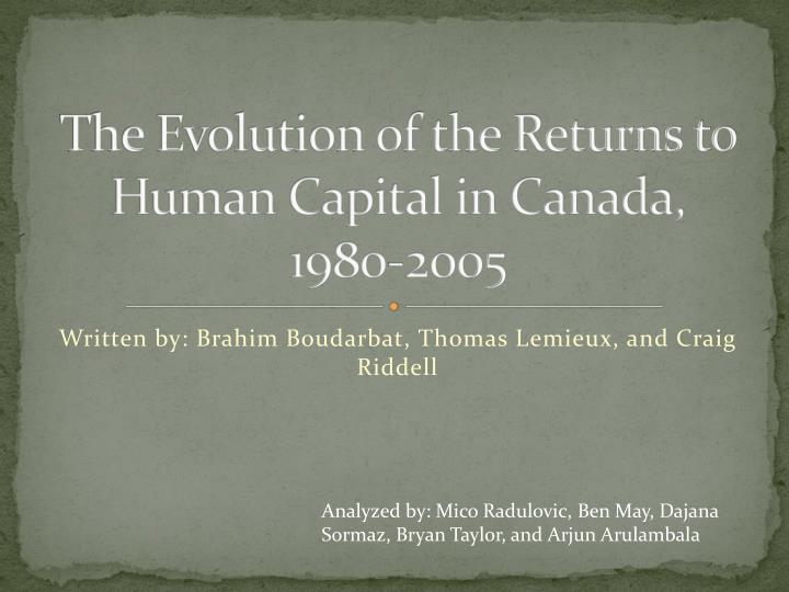The evolution of the returns to human capital in canada 1980 2005