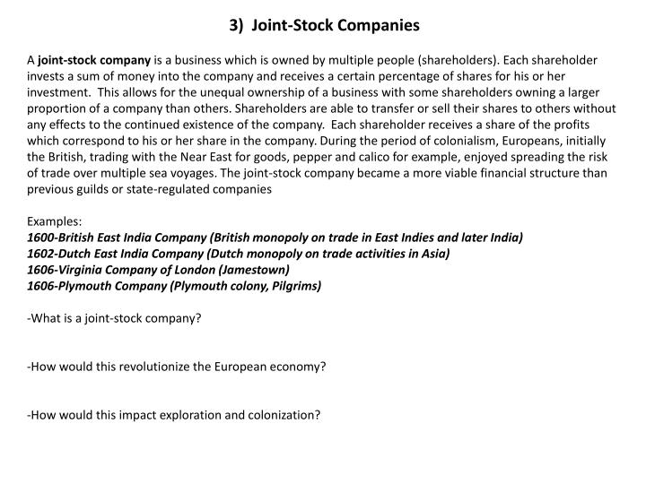 3)  Joint-Stock Companies