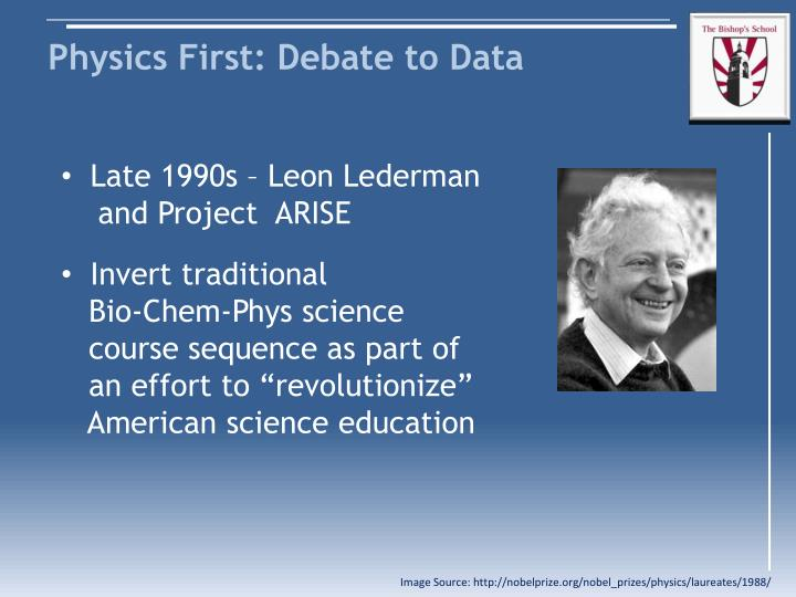 Physics first debate to data1