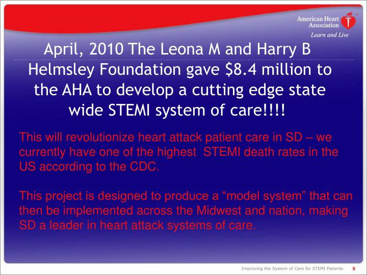 This will revolutionize heart attack patient care in SD – we currently have one of the highest  STEMI death rates in the US according to the CDC.