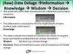 raw data deluge information knowledge wisdom decision