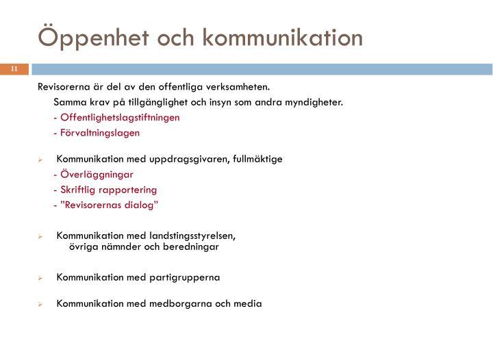 Öppenhet och kommunikation
