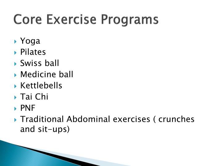 Core Exercise Programs