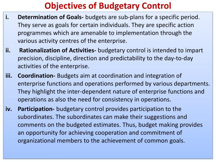 Objectives of Budgetary Control