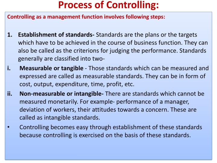 Process of Controlling:
