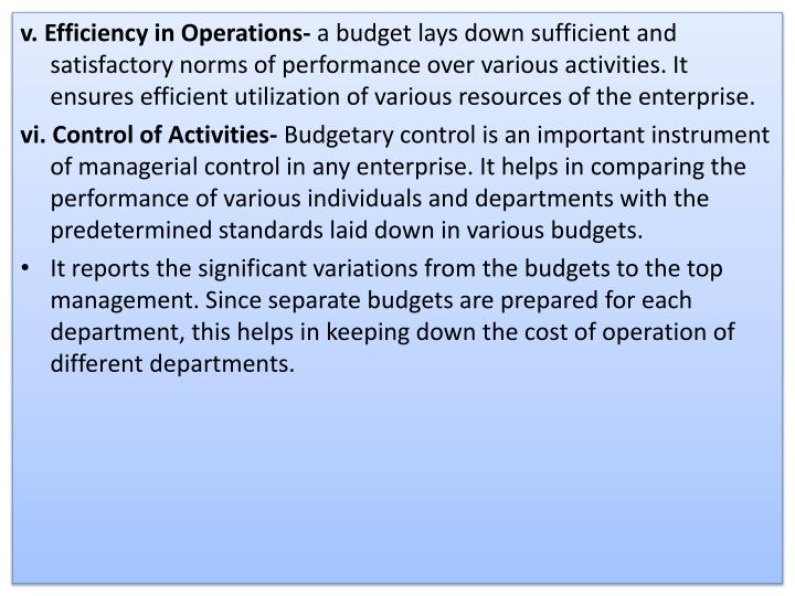 v. Efficiency in Operations-