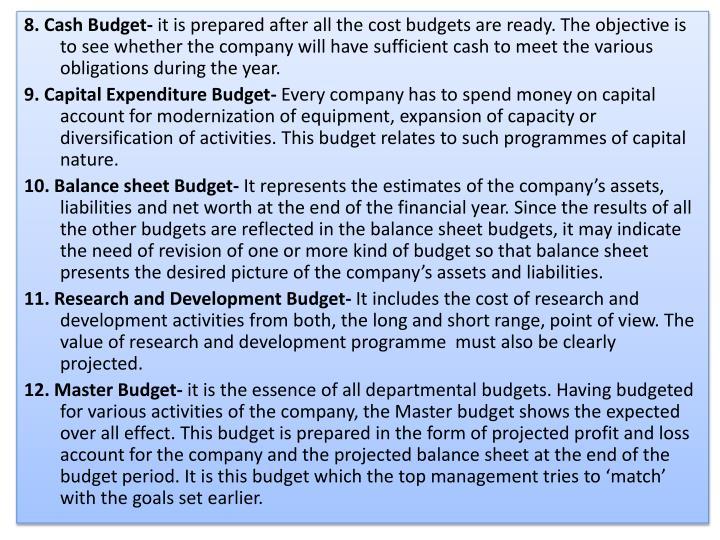 8. Cash Budget-