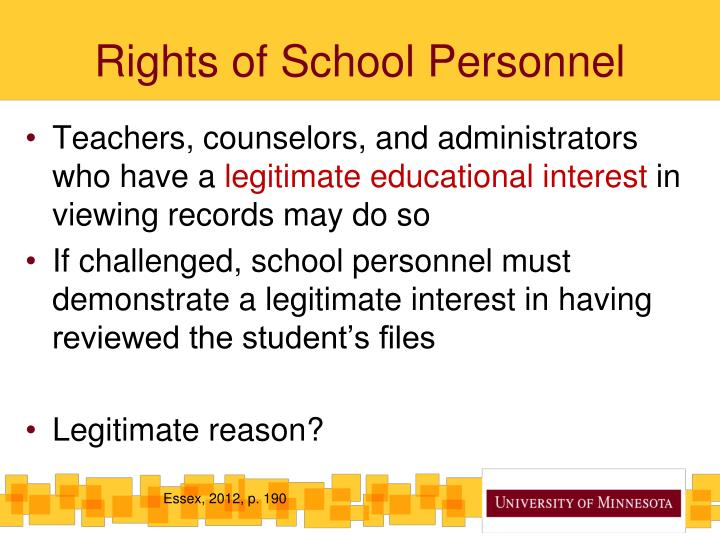 Rights of School Personnel