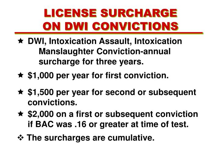 LICENSE SURCHARGE ON DWI CONVICTIONS