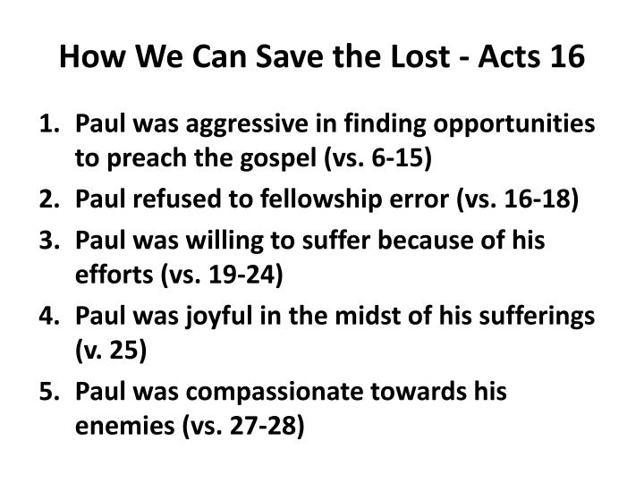 How We Can Save the Lost - Acts 16