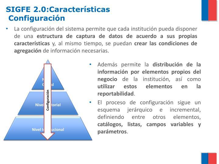 SIGFE 2.0:Características