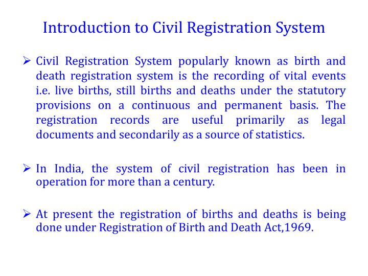 Introduction to Civil Registration System