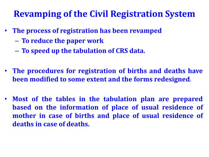 Revamping of the Civil Registration System
