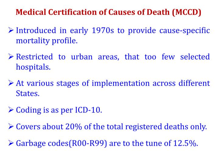 Medical Certification of Causes of Death (MCCD)