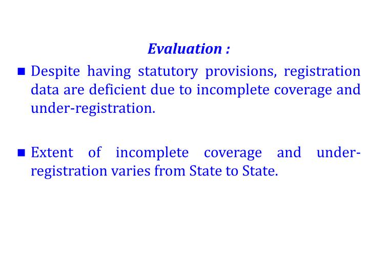 Evaluation :