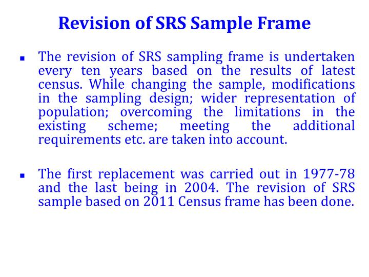Revision of SRS Sample Frame