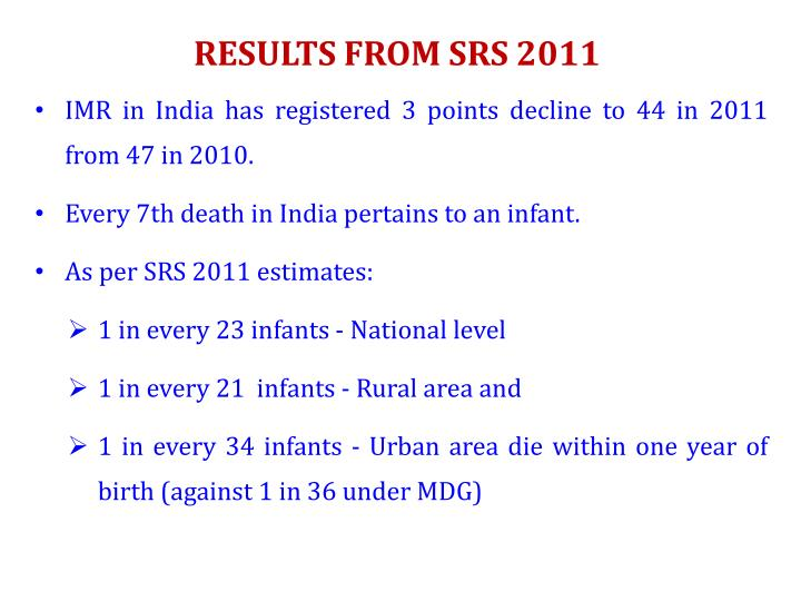 RESULTS FROM SRS 2011