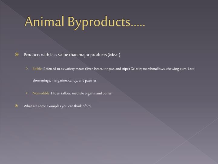 Animal Byproducts…..