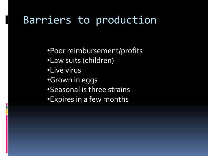 Barriers to production