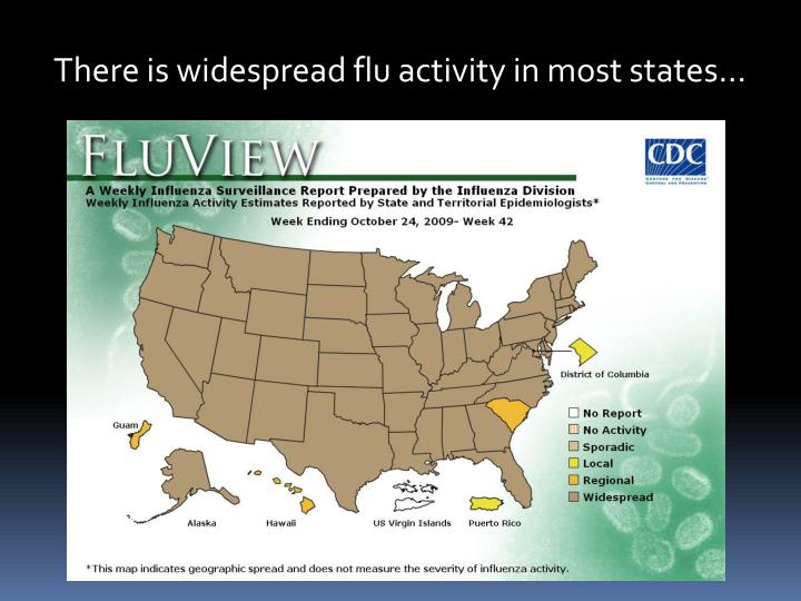 There is widespread flu activity in most states…